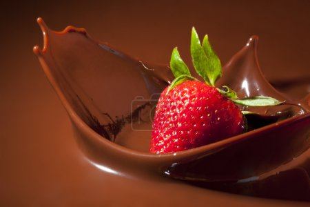Photo for Strawberry Splashing in Milk Chocolate - Royalty Free Image