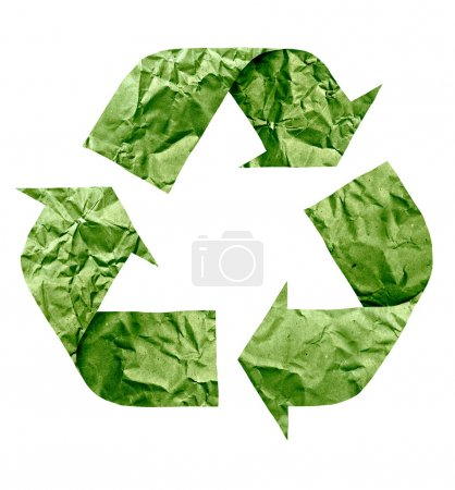 Recycle symbol made of paper