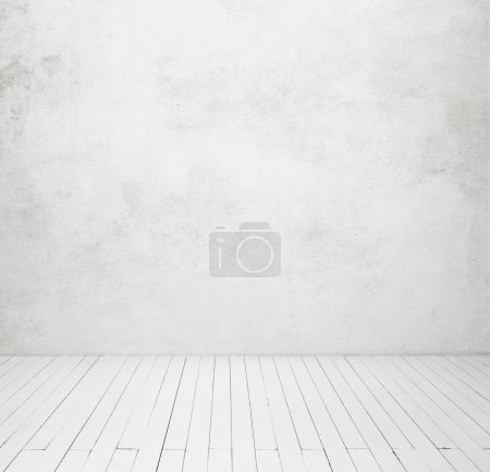 Photo for White concrete wall and wood floor - Royalty Free Image