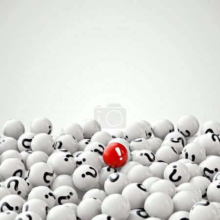 Photo for Abstract 3d illustration of many gray balls with question marks, and one red - Royalty Free Image
