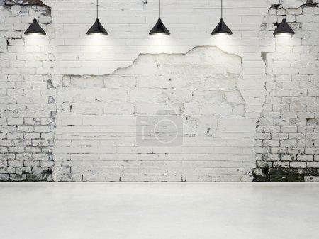 Foto de Pared grunge con lámparas - Imagen libre de derechos