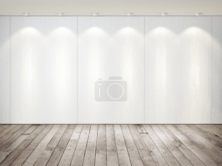 Wall of tiles and wood floor - abstract background template.
