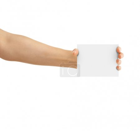 Photo for Hand holding paper card isolated on a white - Royalty Free Image