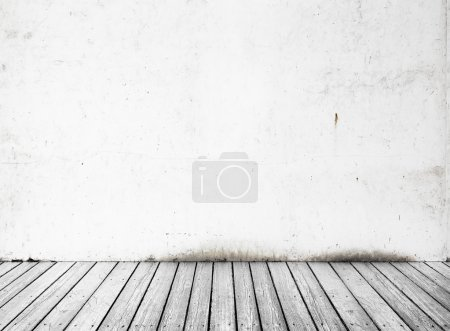 Concrete wall and white wood floor