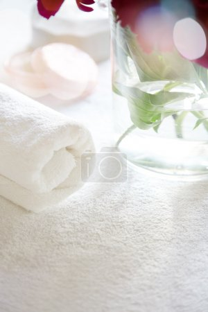 Towel and roses