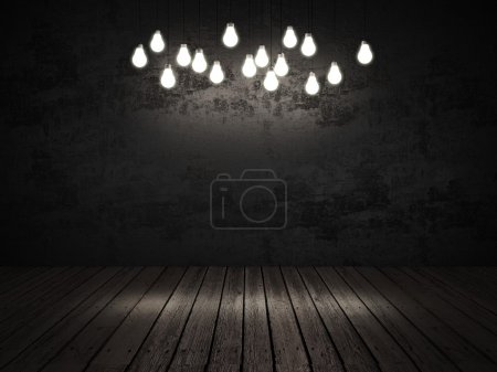 Light bulbs in a dark room