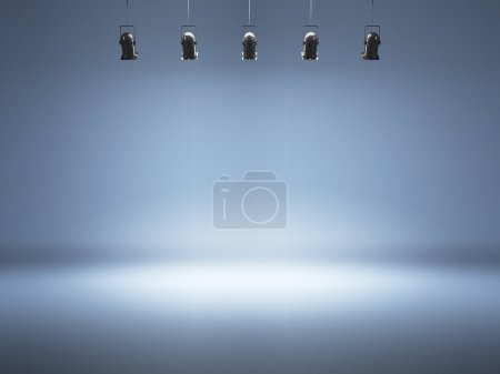 Photo for Blue spotlight background with lamps - Royalty Free Image