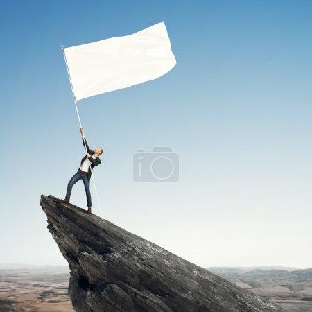 Man with blank flag