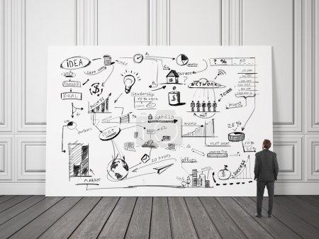 Photo pour Homme regardant la stratégie d'entreprise sur une planche dans une pièce - image libre de droit