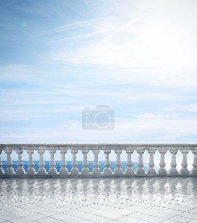 Stone white balustrade