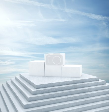 Winner podium under blue sky