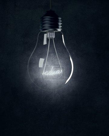 Light bulb with shining IDEA