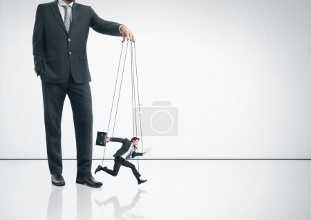 Business marionette running fast