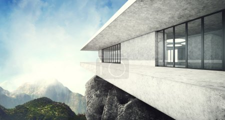 Photo for Modern building on mountains background - Royalty Free Image