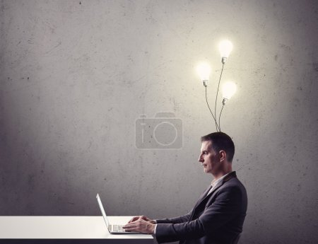 Businessman works with his ideas
