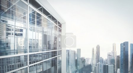 Photo for Balcony with modern city view - Royalty Free Image