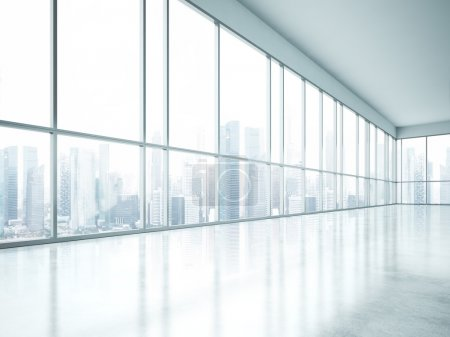 Photo for Empty open space interior with large windows - Royalty Free Image