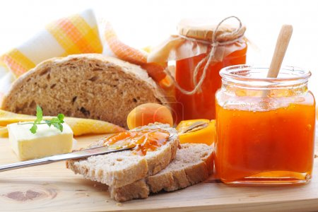 Apricot jam and bread