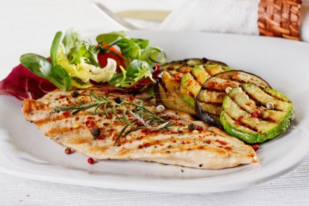 Photo for Grilled vegetables and chicken fillet - Royalty Free Image
