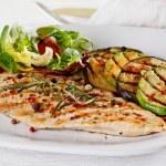 Grilled vegetables and chicken fillet...