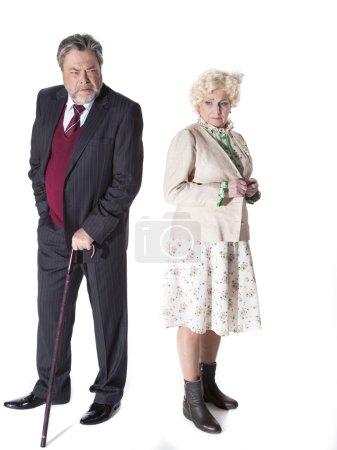 Elderly senior couple having an intense discussion