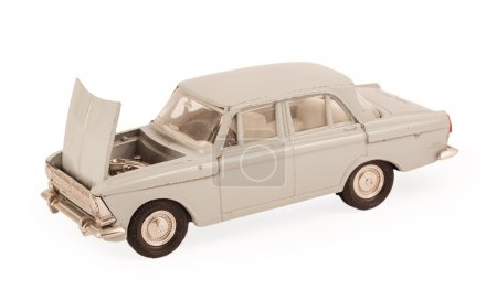 white children's toy car model with the hood open