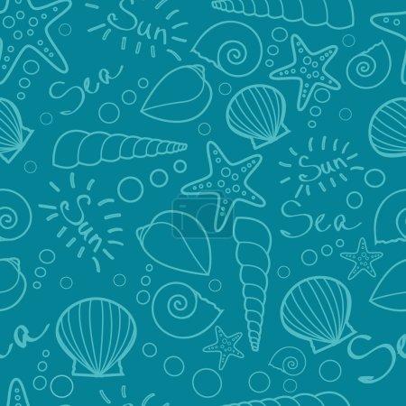 Seashells seamless pattern background