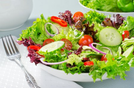 Photo for A mixed salad with lettuce, cucumber, tomatoes, red pepperm and red onion. - Royalty Free Image