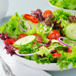 A mixed salad with lettuce, cucumber, tomatoes, re...