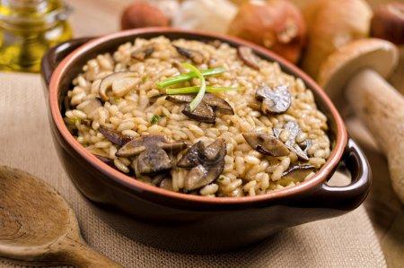Photo pour Un bol de risotto aux champignons sauvages avec riz arboricole et cèpes. - image libre de droit