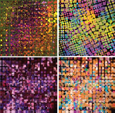 Set of four abstract geometric background