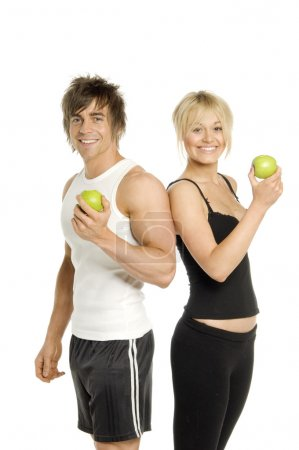 Man and woman eating healthy isolated on a white background