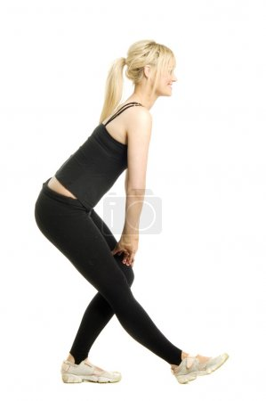 Woman working out isolated on a white background