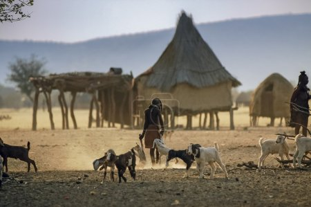 Himba native village in north Namibia...