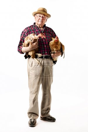Farmer with chicken