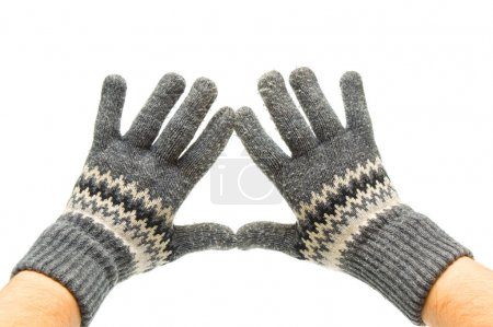 Pair woolen gloves on hands