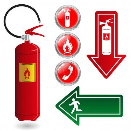 Illustration pour Ensemble vectoriel de symboles de feu - image libre de droit
