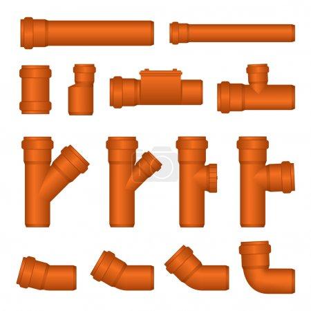 Illustration pour Ensemble vectoriel de tuyaux d'égout en PVC - image libre de droit