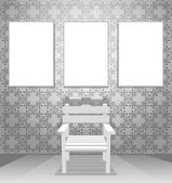 Chair with blank pictures - vector illustration