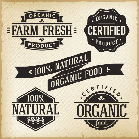 Illustration for Vector Collection of Monoprint Vintage Labels for Organic Food Product - Royalty Free Image