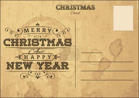 Illustration for Old Grunge Christmas Postcard vector - Royalty Free Image