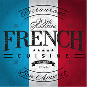 French Cuisine Label on Grunge Flag