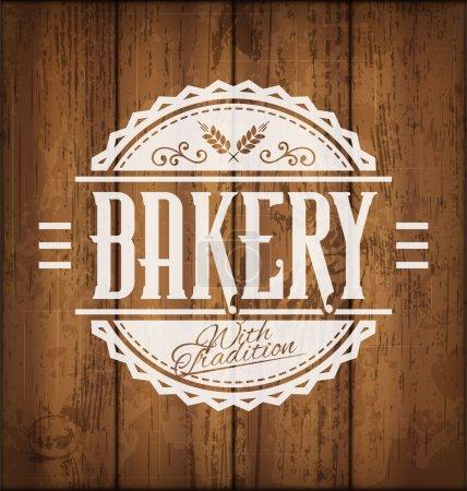 Illustration pour Étiquette ou emblème de boulangerie vectorielle vintage sur fond de texture en bois - image libre de droit