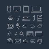 Icons on blue background