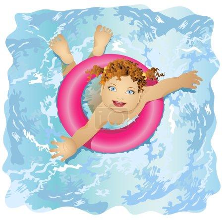 un enfant heureux et souriant flotte dans l'eau