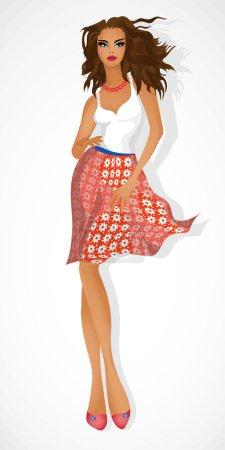 Illustration pour Une belle fille avec des cheveux en développement . - image libre de droit