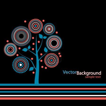 Illustration pour Joyeux arbre sur un fond noir - image libre de droit