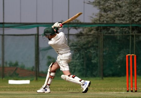 Cricket boy driving ball