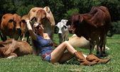 Blonde cow girl sitting between heifers
