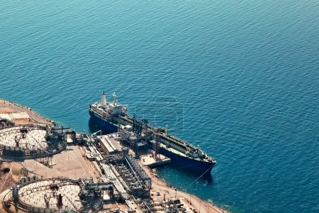 Ship at gas terminal